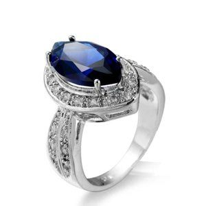 925 Sterling Silver With Blue Sapphire Ring